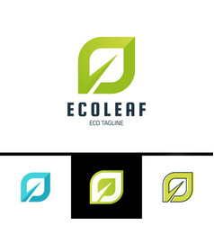 ecology leaf logo green eco logotype in simple vector image
