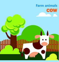Educational flashcard with cow on the farm vector