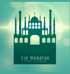 elegant muslim eid festival card design background vector image