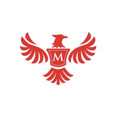Elegant phoenix with letter m logo vector