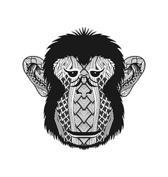 entangle stylized head monkey face hand drawn vector image