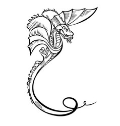 fantasy animal dragon black decorative vector image