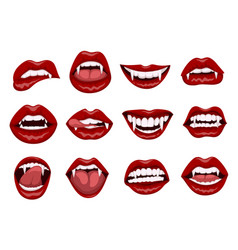 Female red vampire lips with bite fangs vector