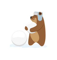 flat brown bear character making ice balls vector image