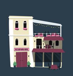 Flat cute little restaurant vector