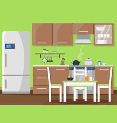 Flat kitchen interior vector