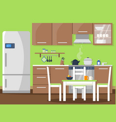 flat of kitchen interior vector image