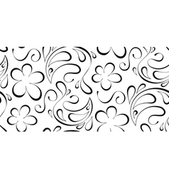 floral seamless background Black pattern on a vector image