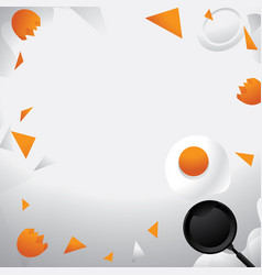 fried egg flying on pan background vector image