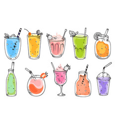 fruit smoothies set vector image