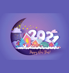 funny winter village with digits 2021 at night vector image