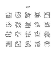 garage thin line icons vector image