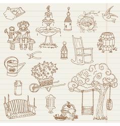 Gardening Hand Drawn Doodles vector