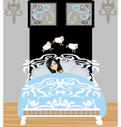 girl counting sheep to fall asleep vector image