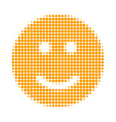 Glad smiley halftone dotted icon vector