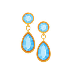 gold earrings with blue gemstones fashionable vector image