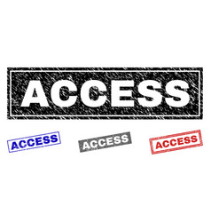 Grunge access scratched rectangle stamps vector