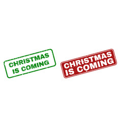 grunge christmas is coming rubber prints with vector image