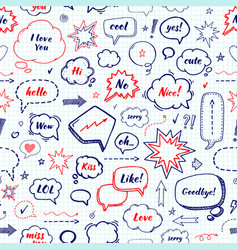 Hand drawn set speech bubbles with dialog vector