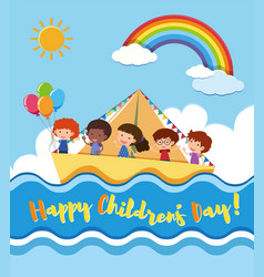 Happy childrens day poster with kids sailing vector