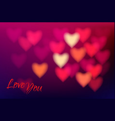heart shape bokeh light background love you dark vector image