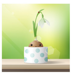 Hello spring with spring flower snowdrop vector