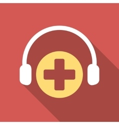 Hospital Call Service Flat Square Icon with Long vector