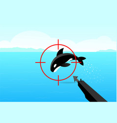hunter aimed his gun at killer whale art vector image