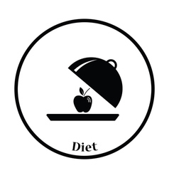 Icon of Apple inside cloche vector image