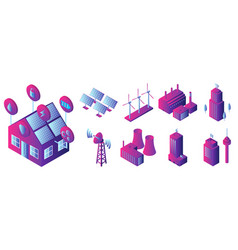 intelligent building icon set isometric style vector image