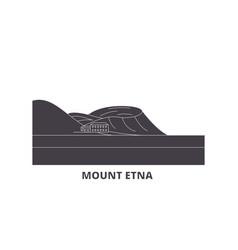 Italy mount etna flat travel skyline set italy vector