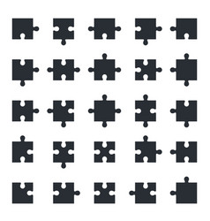 Jigsaw puzzle icons all shapes of puzzle pieces vector