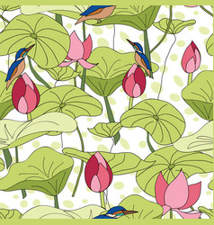 kingfisher sitting on lotus flowers with spotted vector image