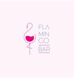 Logo flamingo bar vector