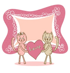 Love card with cat vector image