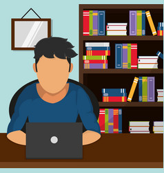 man reading in laptop design vector image