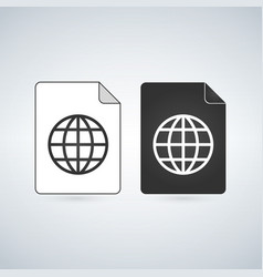 map document file icon with globe linear icon vector image