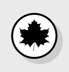 Maple leaf sign flat black icon in white vector