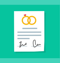 Marriage contract or prenuptial agreement legal vector