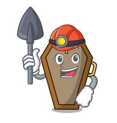 miner coffin mascot cartoon style vector image