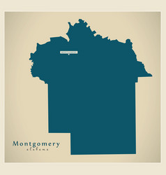 Modern map - montgomery alabama county usa vector