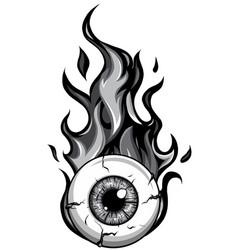 Monochromatic single eyeball on fire in flames vector