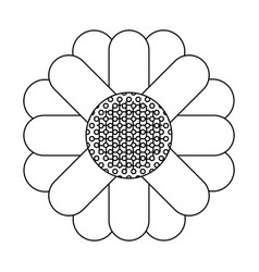 Monochrome silhouette of abstract sunflower in vector