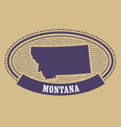 Montana map silhouette - oval stamp vector