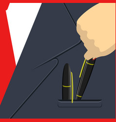 Pair of pens in a pocket vector