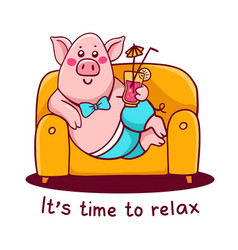 Pink color character pig in pants lying on the vector