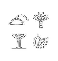 plants in singapore linear icons set vector image