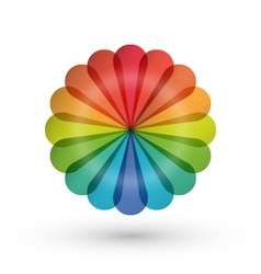 Rainbow flower balloon icons logo design vector image