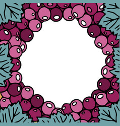 Round frame from grapes against white background vector