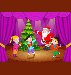 Santa claus on the stage with kids singing vector